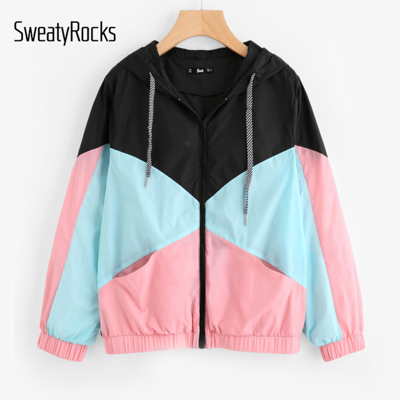 SweatyRocks Woman Winter Coats and Jackets Multicolor Cut and Sew Hooded Windbreaker Jacket Color Block Coats for Women