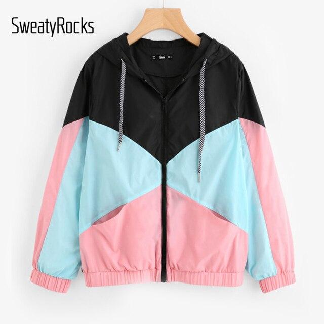 SweatyRocks зимняя женская обувь Пальто для будущих мам и Куртки multi Цвет кроить и шить ветровка с капюшоном Цвет блок Пальто для будущих мам для Для женщин