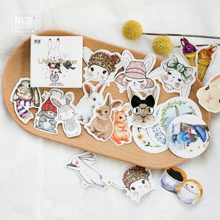 45Pcs/Pack 2018 Hot Sale Meng Rabbit on Cycle Handmade Cake Packaging Sealing Label Sticker Baking DIY Gift Box Stickers M1068