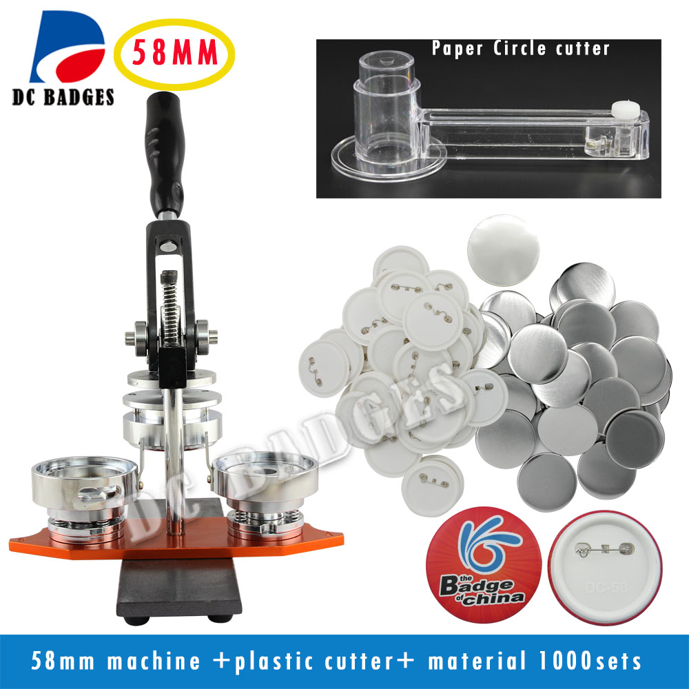 Free Shipping New 58mm Rotary Badge Button Maker Machine + Adjustable Circle Cutter+1000 Sets Pinback Badge Material Supplies