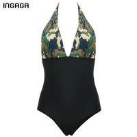 INGAGA New 2017 Women One Piece Swimsuit Halter Swimwear Brand Deep V Sexy Monokini Summer Bathing