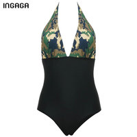 INGAGA New 2017 Women One Piece Swimsuit Halter Swimwear Brand Deep V Sexy Monokini Summer Bathing