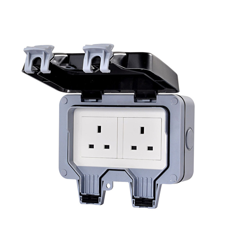 IP66 waterproof series wall switch socket two 13A double British standard outdoor bathroom,1 pcs british mk british unit power supply socket metal 13a power outlet british standard unit socket