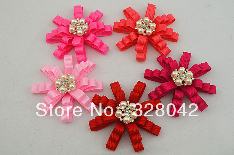 Trail order girl solid color grosgrain ribbon flowers pearl centre trail order girl solid color grosgrain ribbon flowers pearl centre diy ribbon layered flowers head hair accesories 20pcslot in hair accessories from mother mightylinksfo