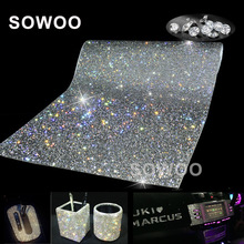 24*40/PC SS8 Glass Rhinestone Trim Crystal Beaded Applique Hotfix Iron On Strass Mesh Banding In Roll For Wedding Dresses Crafts