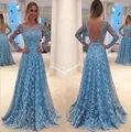 Женское кружевное платье с открытой спиной, синее длинное свадебное платье макси, вечерние бальные платья для выпускного вечера, для лета