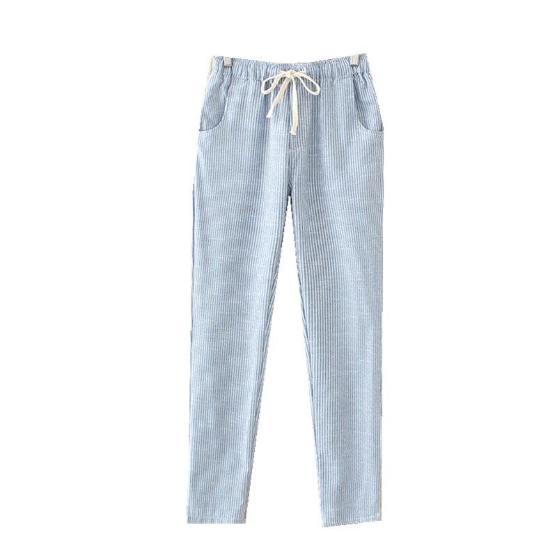 2018Summer Female Casual Pencil   Pants   spring Women Elastic Waist Cotton Llinen Striped   Pants     Capris   Loose Thin Harem   Pants   Women