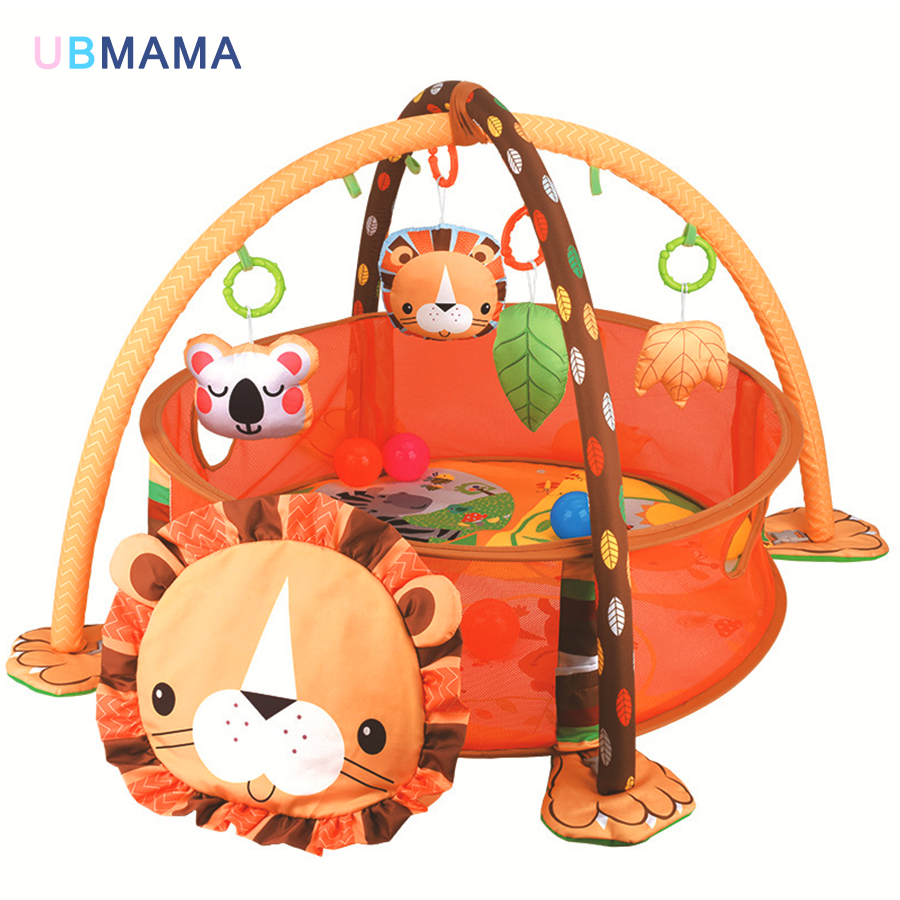 Mat Toys Tortoise And Lion Baby Activity Mat 0-1 Year Educational Crawling Toy Gift Ball Mattress For Early Infant Baby Play