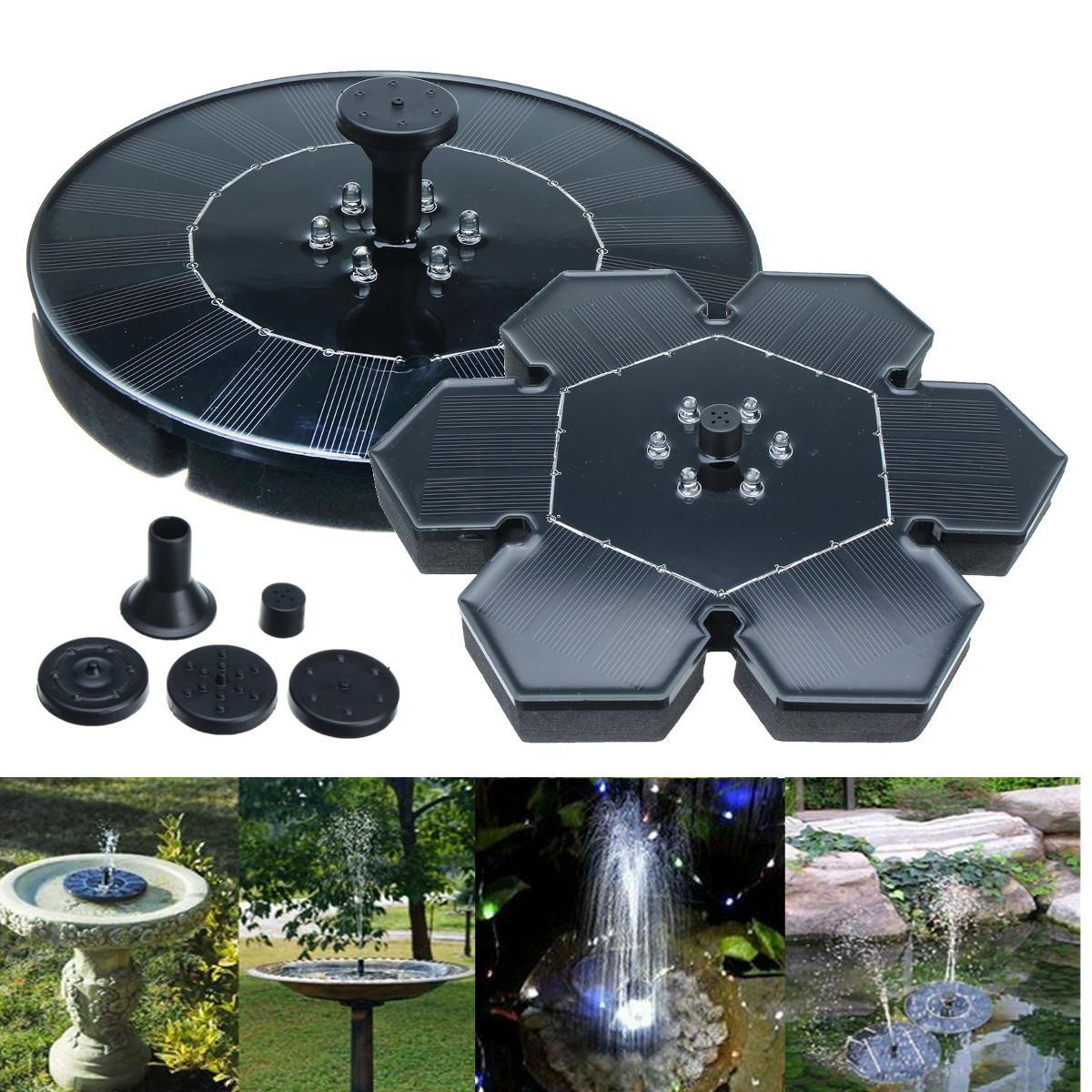 18/22cm Floating Fountain Pump LED Light Solar Power Panel Garden Plants Water Pool Pond Fountain Yard Decoration Waterproof