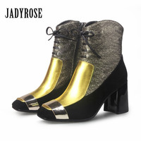 Jady Rose Luxury Gold 2018 New Winter Warm Ankle Boots Patchwork Genuine Leather Metal Square Toe