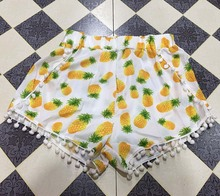 10 styles 2019 Summer Style Pineapple Print Elastic Shorts for Women Ball Tassel Pom Pom Shorts Yellow Bohemian Sexy Shorts