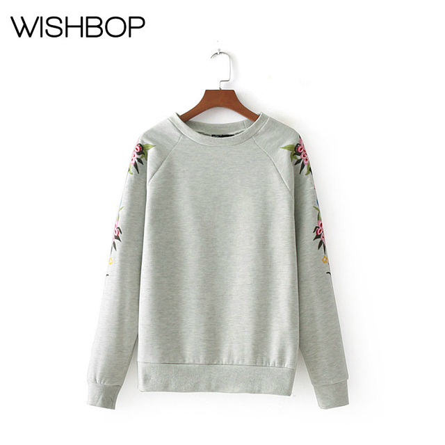 2017 Newest Wishbop Gray Round Neck Embroidered Sweatshirts - Women's  Fashion Pullover & Ladies Pullovers No