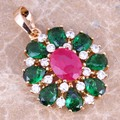 Multicolor Multigem Green Created Emerald Red Created Ruby Gold Plated Flower Pendant  P350A