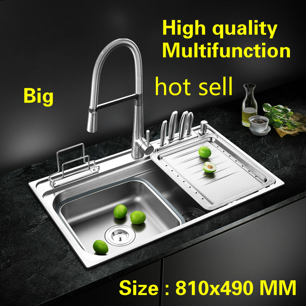 Free shipping Standard kitchen single trough sink big luxury fashion food-grade 304 stainless steel hot sell 810x490 MMFree shipping Standard kitchen single trough sink big luxury fashion food-grade 304 stainless steel hot sell 810x490 MM