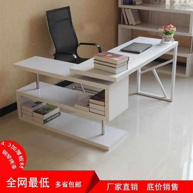 Simple Modern Paint Rotating Desktop Computer Desk Bookcase Corner Home Bookshelf Combination