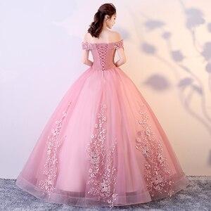 Image 3 - Rot Rosa Quinceanera Kleider Weg Von Der Schulter Appliques Perlen Vestidos De Gala Largos Prom Kleid Puffy Masquerade Ball Kleider