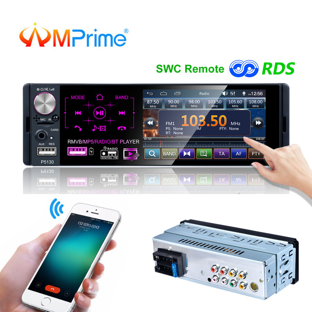 AMPrime 1 Din Car Radio Touch Screen Bluetooth Autoradio Stereo Audio MP5 Video Player USB MP3 TF ISO In-dash Multimedia Player