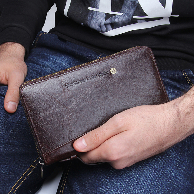 Genuine Leather Men Clutch Wallet  Brand Male Card Holder Long  Zipper Around Travel Purse With Passport Holder 6.5 5