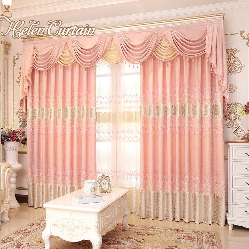 helen de lujo cortina jacquard chenilla cortinas para la sala de estar con cenefa cortinas de tul bordado comedor dormitorio