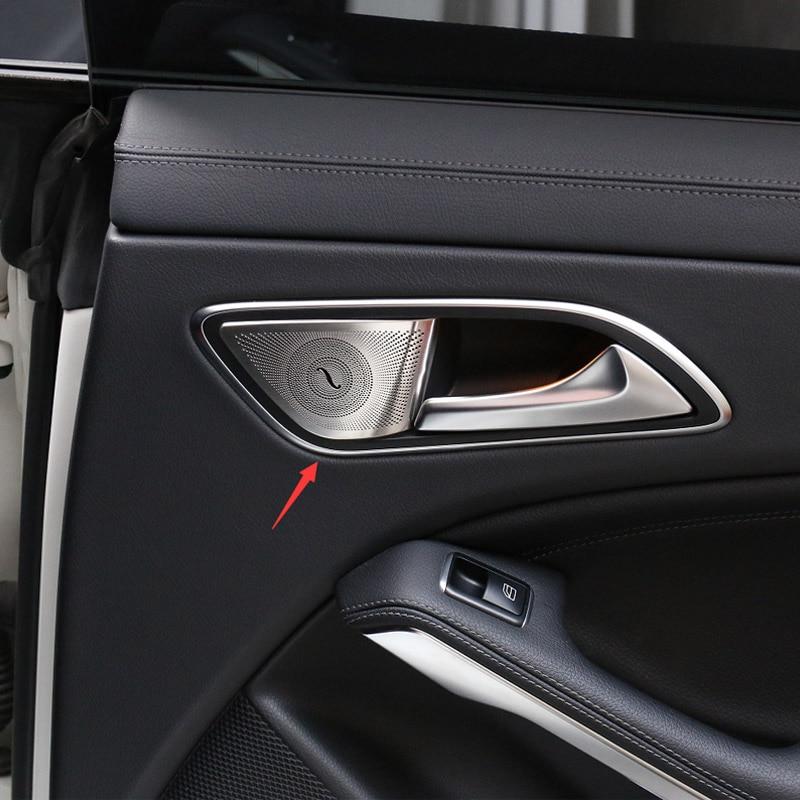 Para Mercedes Benz GLA X156CLA C117 A Clase B AMG Car Styling Interior Puerta Trasera Cubierta de Altavoces de Audio Estéreo Etiqueta de Protección