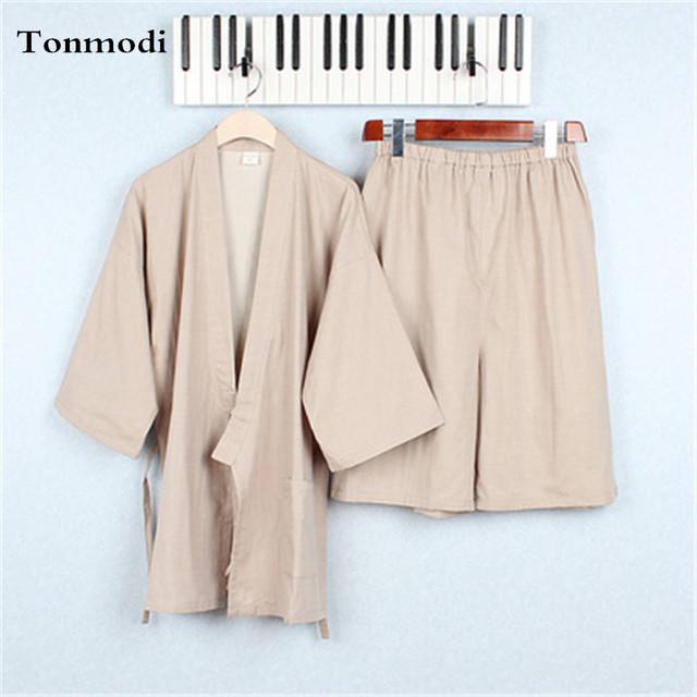 Kimono Pijamas pijamas Para Hombre 100% Algodón de doble capa de gasa pantalones cortos de Pijama de dormir set ropa khan vapor