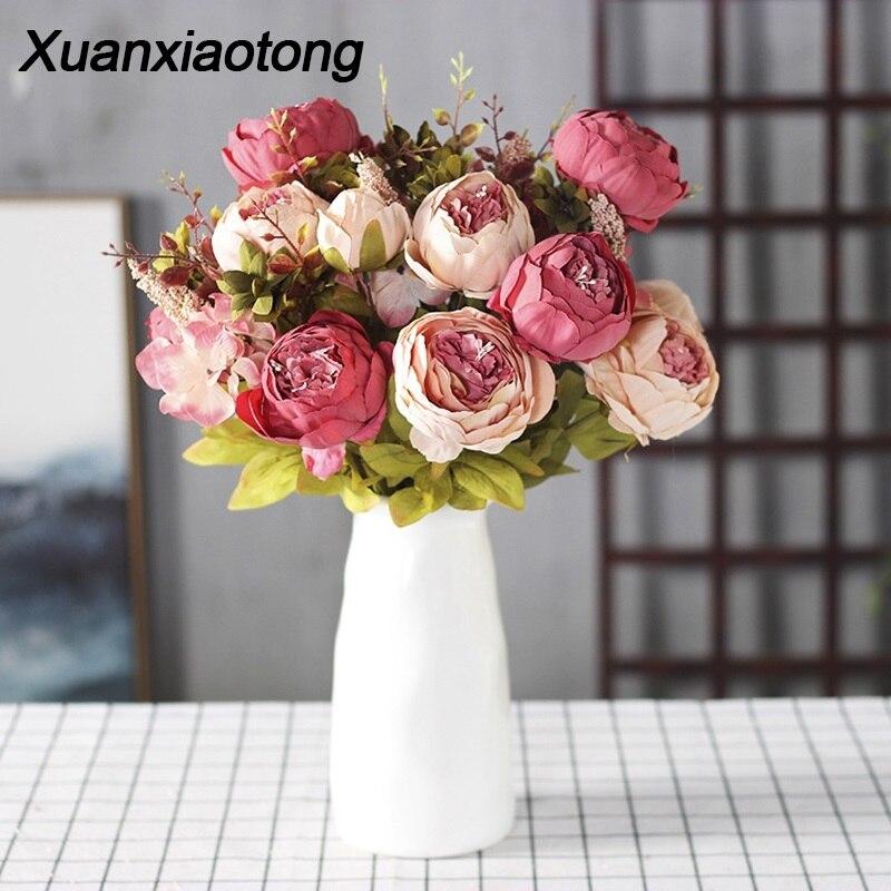 Xuanxiaotong 13 Cabeça Peônia flores Flores Artificiais Casamento Casa para a Tabela Decorativa flores artificiales para decoracion hogar