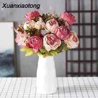 Xuanxiaotong 13 cabeza de peonía flores artificiales hogar flores para mesa flores decorativas artificiales para decoración hogar