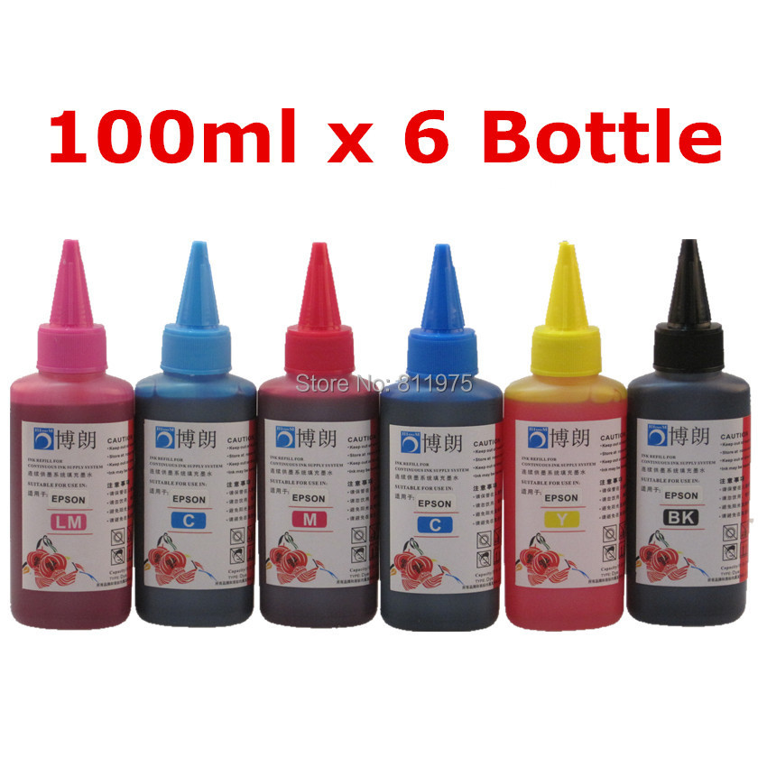 Universal 6 Color Dye Ink ,For EPSON 100ML bottle Ink R230 R220 R200 T50 1400 1390 R260 R265 R280 printer cartridge full ink 6 pcs ink cartridge t0771 t0772 t0773 t0774 t0775 t0776 for epsonr260 r380 r280 rx580 rx680 rx595