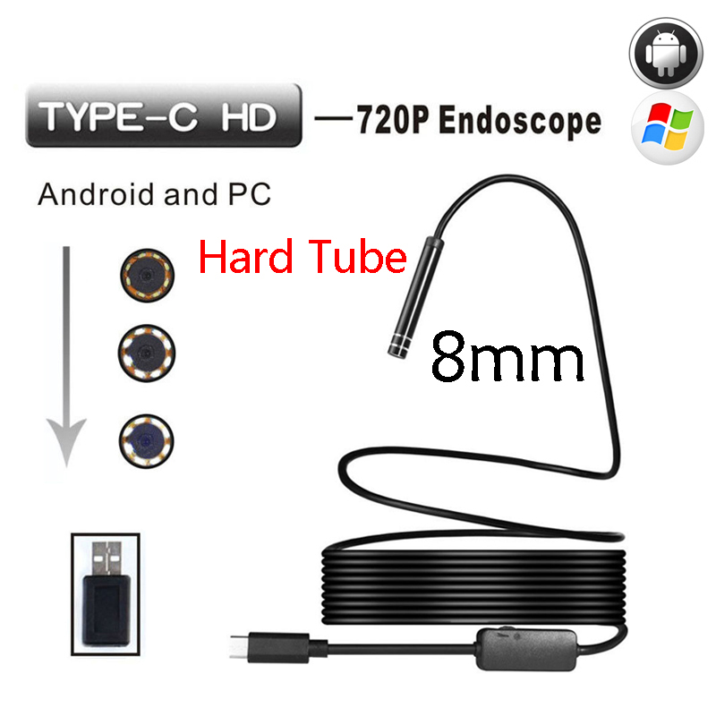 Wistino Type-c Endoscop Android USB 8mm Hard Cable Camera Inspection Camera PC Android Phone Borescope Pipe Camera Endoscope 7mm 2m endoscope endoskop android usb phone camera cable otg tube borescope pipe waterproof ip67 inspection surveillance wistino