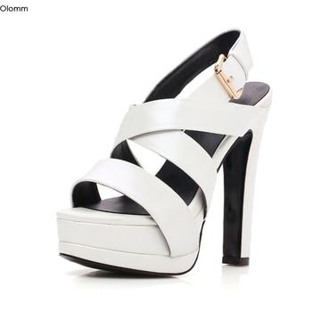 Olomm New Fashion Women Platform Leather Sandals Sexy High Heels Sandals Open Toe Black White Dress Shoes Women US Plus Size 3-9