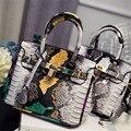 Sacos de mulheres Serpentina Cor Bloqueando Mulheres Couro Bolsas Bolsos Mujer Grandes Cobras de Mini Sacos de Ombro Do Vintage