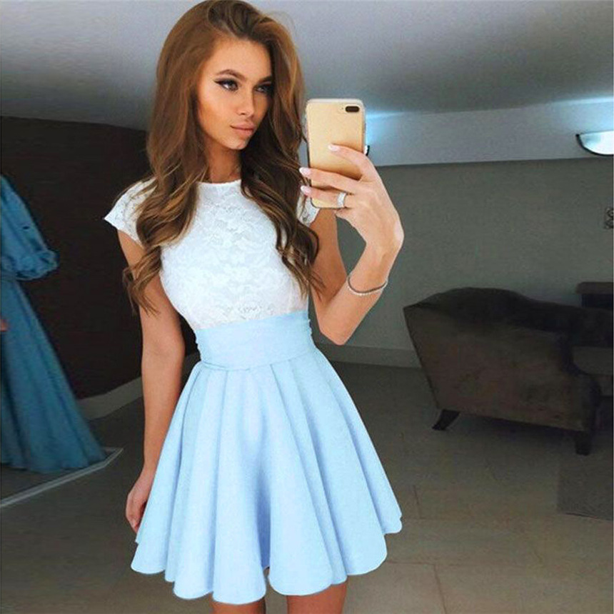 Summer Dress Womens Lace Party Cocktail Party Cute Mini Dress Ladies Summer Short Sleeve O-neck Skater Dress