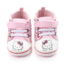 Купить с кэшбэком Baby Princess Pink Shoes for Girls Cartoon Hello Kitty Canvas Sneaker First Walker Newborn Boots for Kid Infant Toddler Slippers