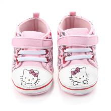Baby Princess Pink Shoes for Girls Cartone animato Hello Kitty Canvas Sneaker First Walker Stivali appena nati per il bambino Infantile Toddler Pantofole