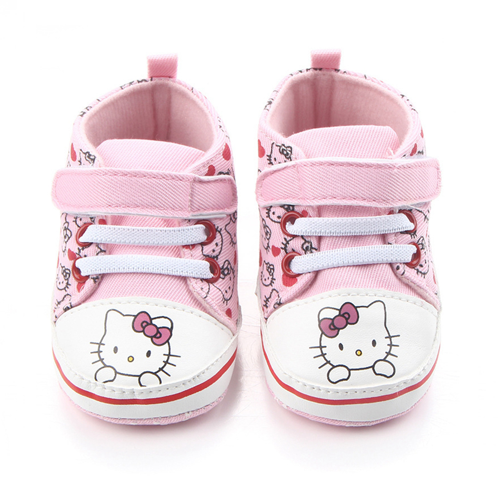 Baby Princess Pink Shoes for Girls Cartoon Hello Kitty Canvas Sneaker First Walker Newborn Boots for Kid Infant Toddler Slippers