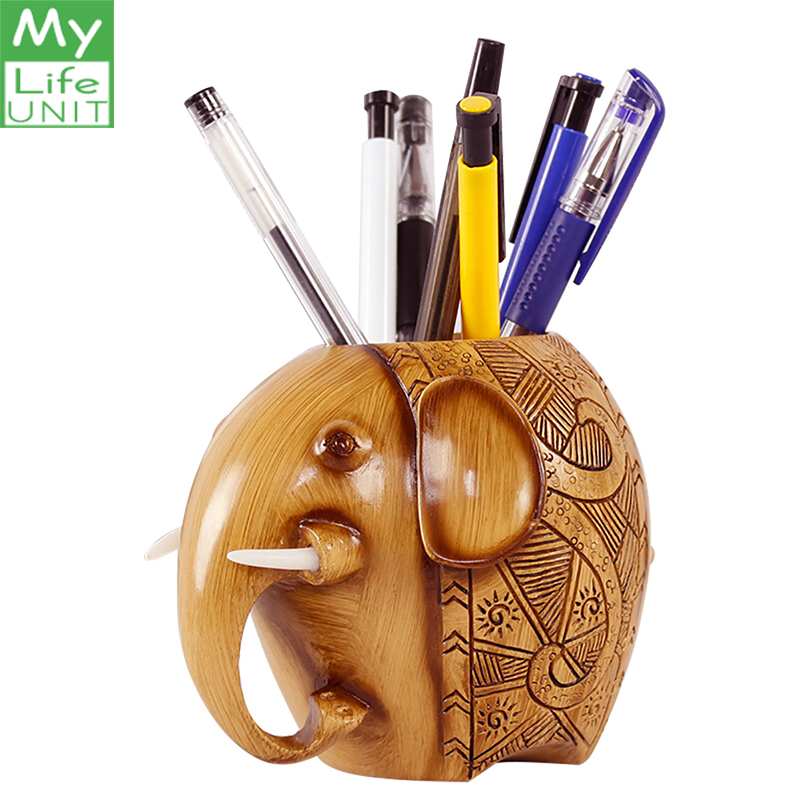 MyLifeUNIT Wood Carving Elephant Shape Pen Holders School Supplies Organizer Desk Accessories For Office