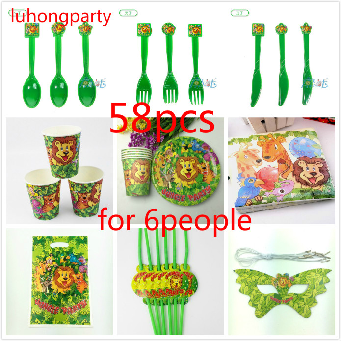 58pcs Jungle lion theme cup plate napkin Kids Birthday Party Decoration Set Birthday Party Supplies for 6 person use
