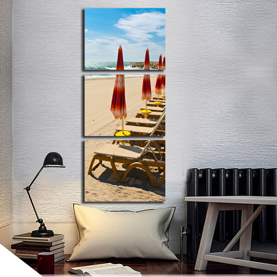 Sales promotion Seascape Canvas Painting Beach Chair on Seaside Print For Living Room and Bedroom Home Decoration Unframed FA275