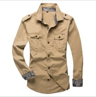 Military Style Mens Shirts Long Sleeve With Pockets Epaulet Mens Cargo Shirts Casual Slim Fit Shirt