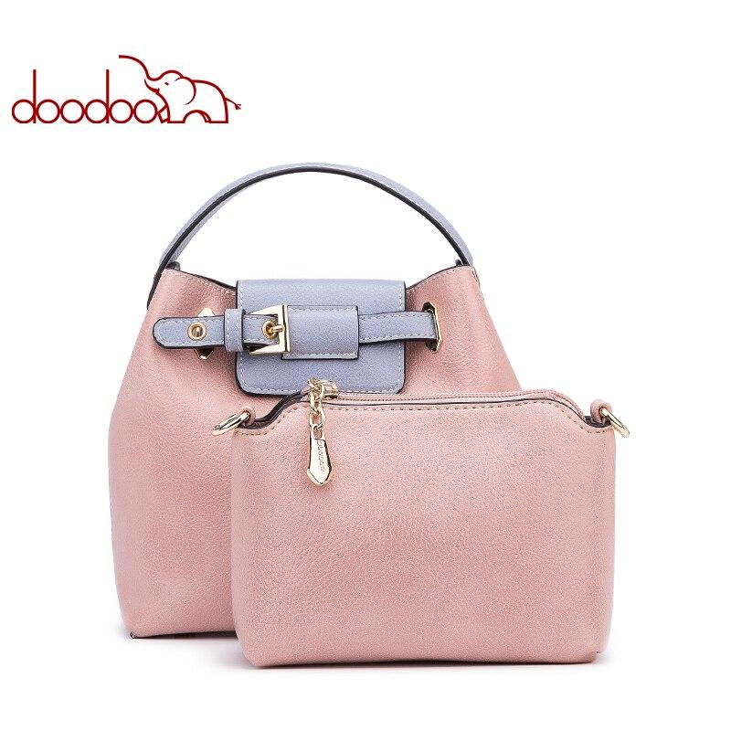 цена на DOODOO Female Pu Leather Decorative Belt Spell Color Top-handle Bag Women Handbag Tote Bucket Bag Female Shoulder Crossbody Bag