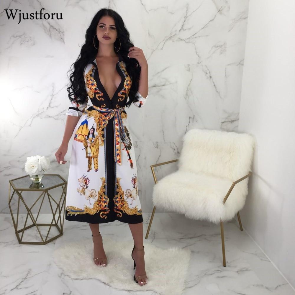 85d21f2a1 Wjustforu nuevo otoño estilo chino impreso Casual vestido rompevientos  mujeres vendaje V vestido ...