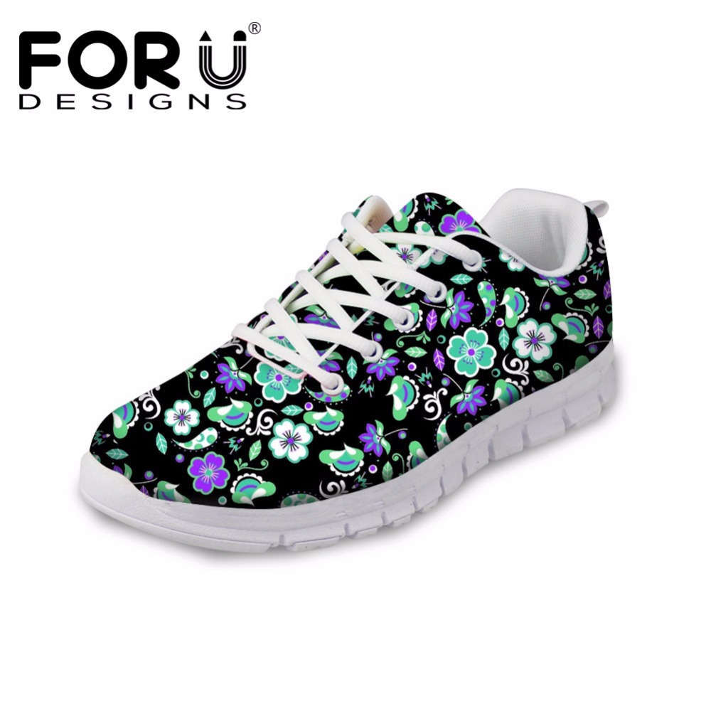 FORUDESIGNS Black Women Casual Flat Shoes Floral Style Breathable Flats Shoes Woman Autumn Lace-up Leisure Shoe for Ladies Mujer summer women shoes casual cutouts lace canvas shoes hollow floral breathable platform flat shoe sapato feminino lace sandals