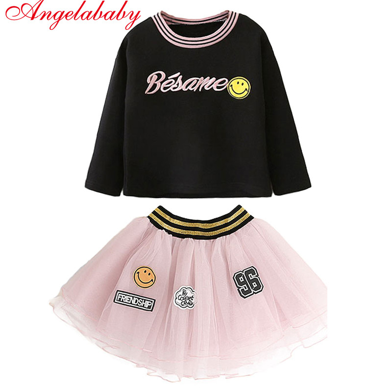 2018 Spring and Autumn Girls Fashion Clothing Sets Children's Stripe Letter Cotton T-shirt + Net Print Yarn Skirt 2pcs clothes girls letter print tee with tie waist gingham skirt