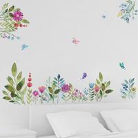 Kleurrijke Lente Bloem muurstickers TV Achtergrond Sofa decoratie Vliegende Vogels Vlinder muurtattoo 3d Tuin Bruiloft Decor