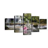 5 Pieces Green Nature Flower Buddha Wall Art Painting Image Picture Print On Canvas Home Decoration Bathroom Decoration