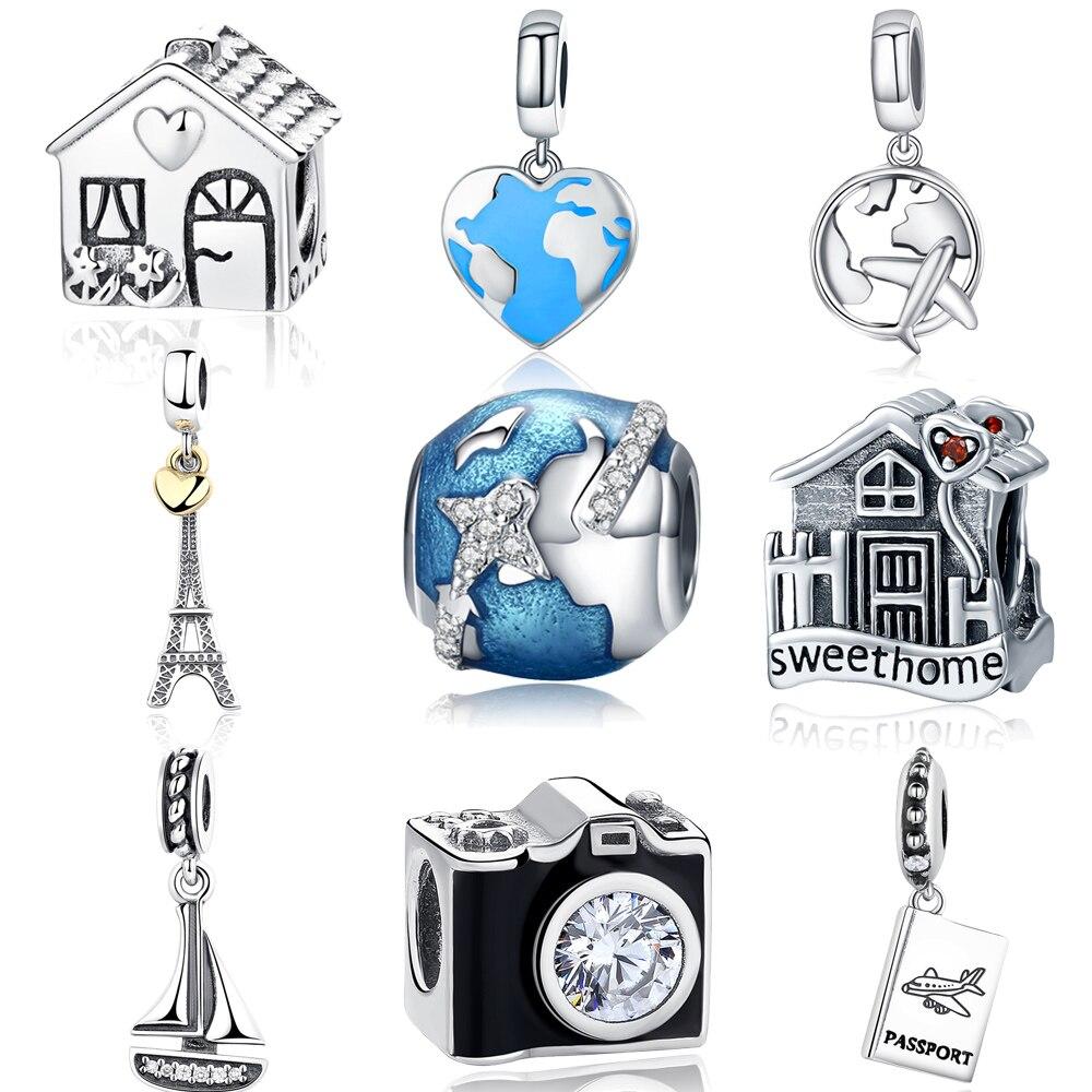 925 Sterling Silver Travel Dream House Eiffel Tower Pendant Charm Fit Original PAN Charm Bracelet DIY Christmas Gift Jewelry eiffel tower charm bangle