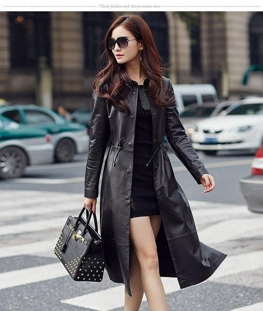 HNW005 Mujeres cazadora estilo largo de la manera de la cena de cuero de piel de Oveja de cuero chaquetas abrigos/1 tamaño del color 4/China famosa marca