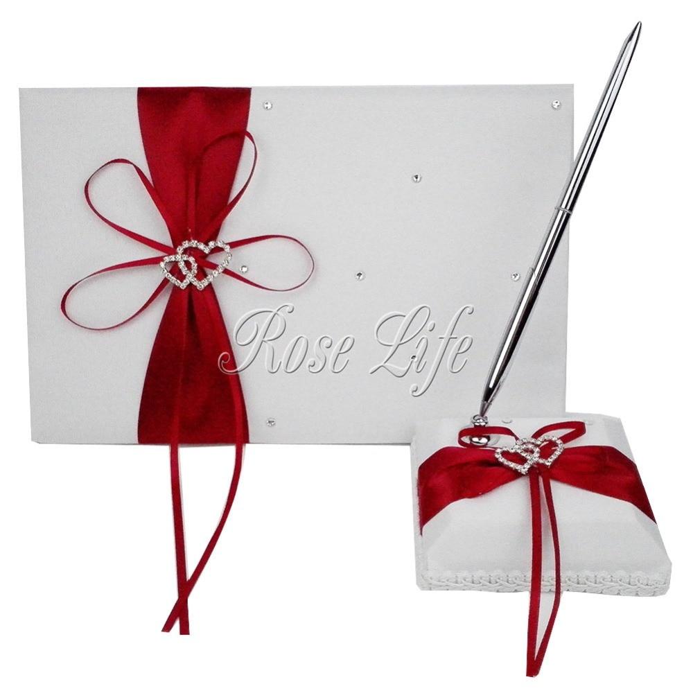 4Pcs/set Red Wedding Decoration Bridal Satin Ring Pillow+Flower ...