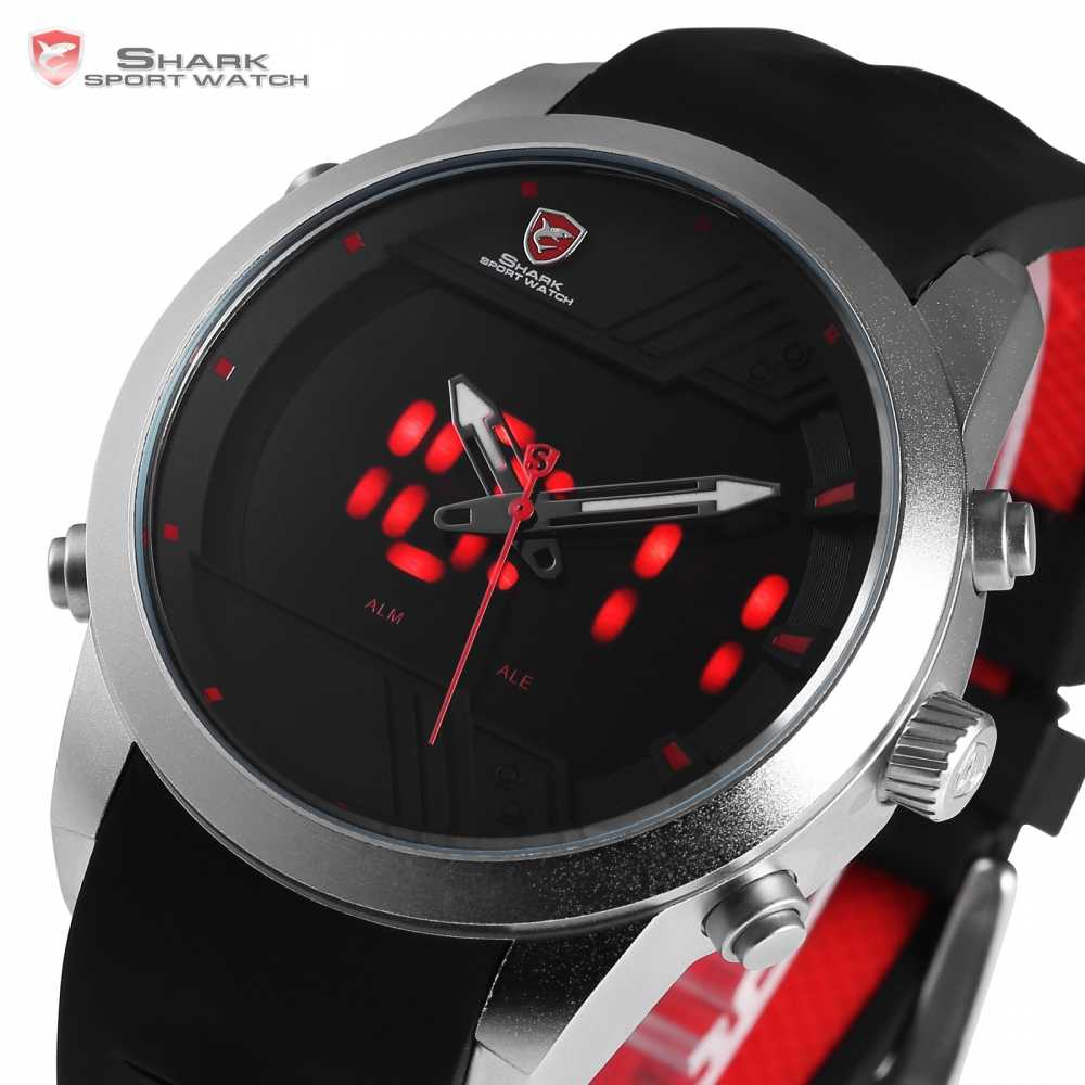 Sawback Angel Shark Sport Watch NEW Edition LED Black Red 3 D Dial Digital Date Alarm Dual Time Male Silicon Wrist Watch / SH540