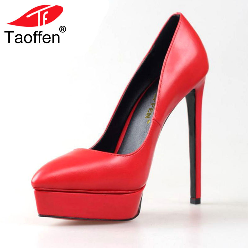 TAOFFEN Size 35-42 Women's Platform High Heel Shoes Stiletto Quality Heeled Pumps Ladies Fashion Sexy Gladiator Shoes R08749 women backpack 2016 solid corduroy backpack simple tote backpack school bags for teenager girls students shoulder bag travel bag